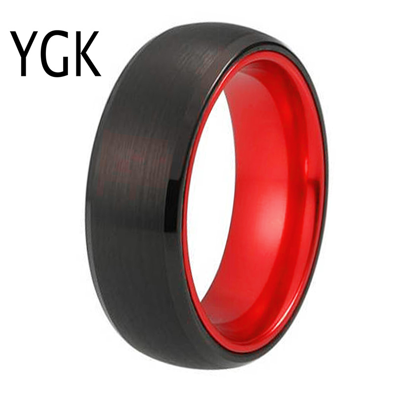 Classic Wedding Rings For Women Mens Tungsten Ring Black Tungsten with Red Aluminum Engagement Ring Free Custom EngravableWedding Bands   -