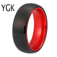 Classic Wedding Rings For Women Men's Tungsten Ring Black Tungsten with Red Aluminum Engagement Ring Free Custom Engravable