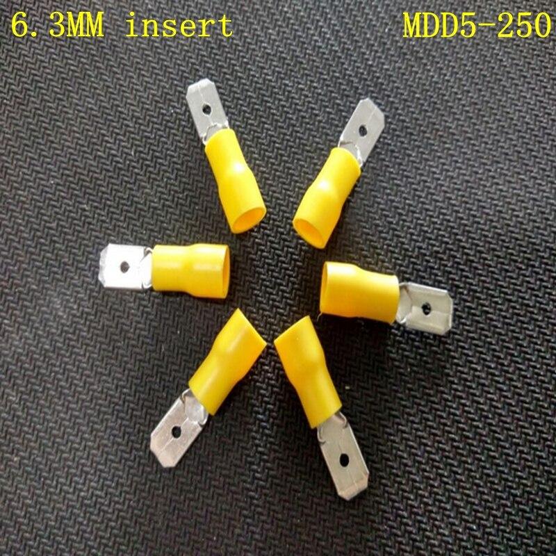 50pcs/lot MDD5-250 male head insert 6.3MM pre insulated terminal cold pressing terminal