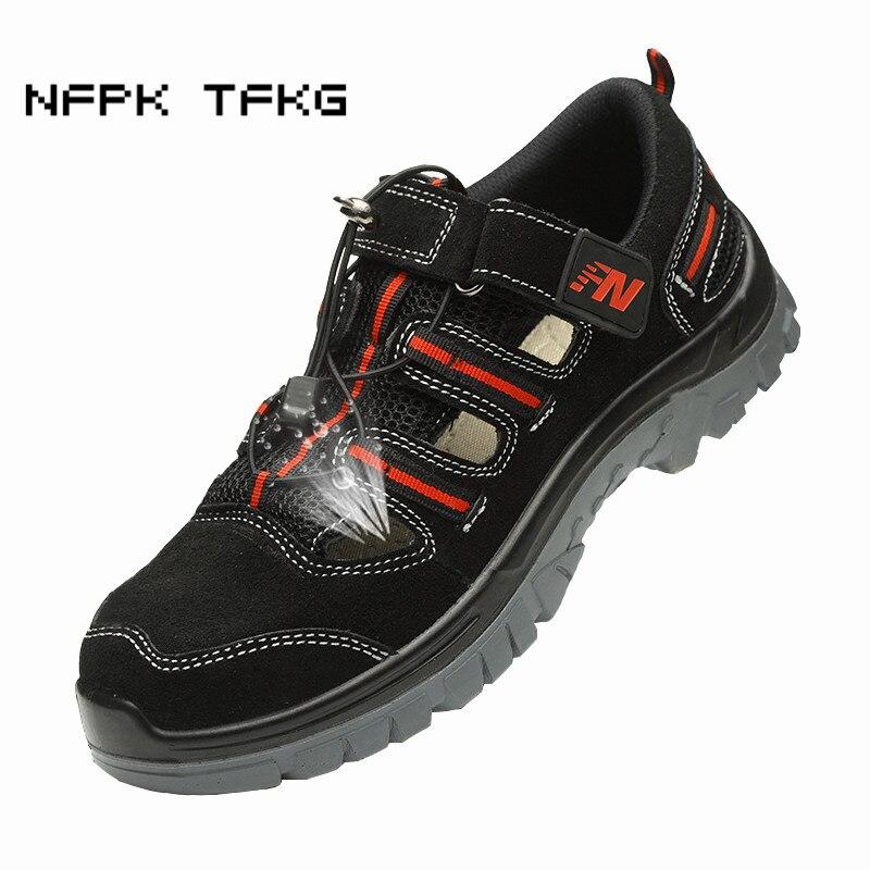 Мужские большие размеры дышащие летние туфли со стальным носком корова замша анти-прокол строительной площадке сандалии сапоги