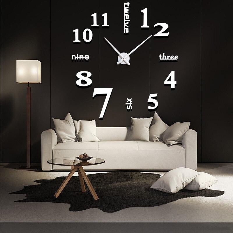 Large Size Acrylic Quartz Clocks Fashion Watches 3d Real Big Wall Clock Rushed Mirror Sticker Diy Living Room Decor