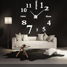 Large Size Acrylic Quartz Clocks Fashion Watches 3d Real Big Wall Clock Rushed Mirror Sticker Diy Living Room Decor  Wall Clock все цены