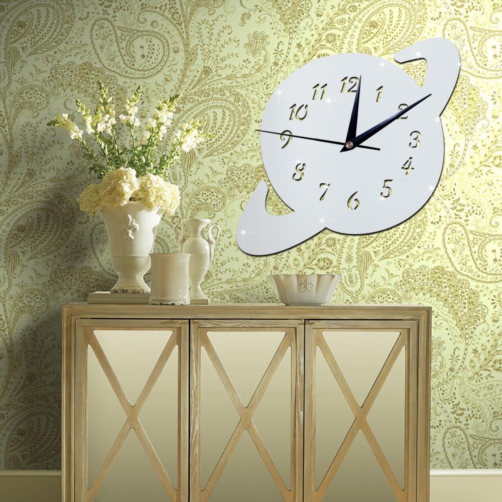 3D World Globe Mirror Effect Wall Clock Fashion Design Art Decals ...