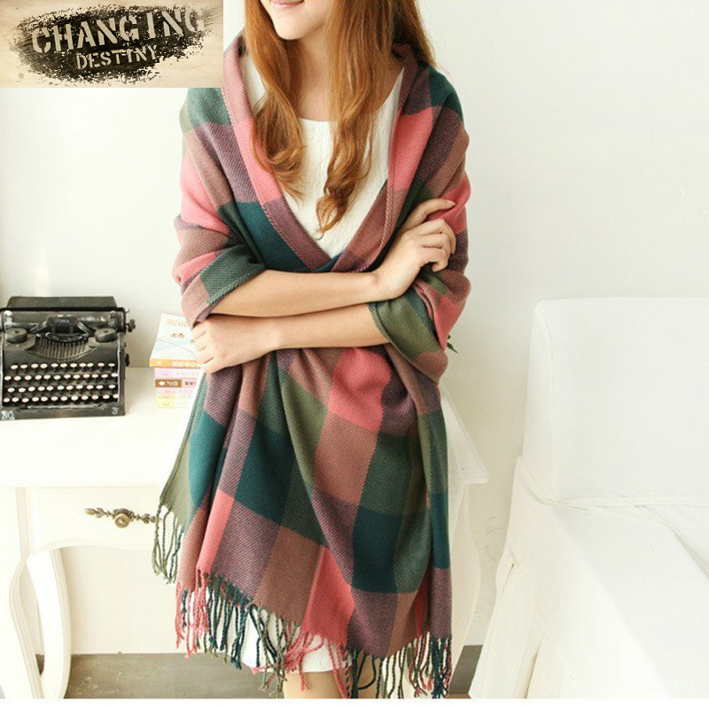 13 Color Autumn Winter Women's Plaid   Scarf   Spell Color Plaid Girl's Long Warm   Scarves   Shawl Female Fashion   Scarf     Wraps