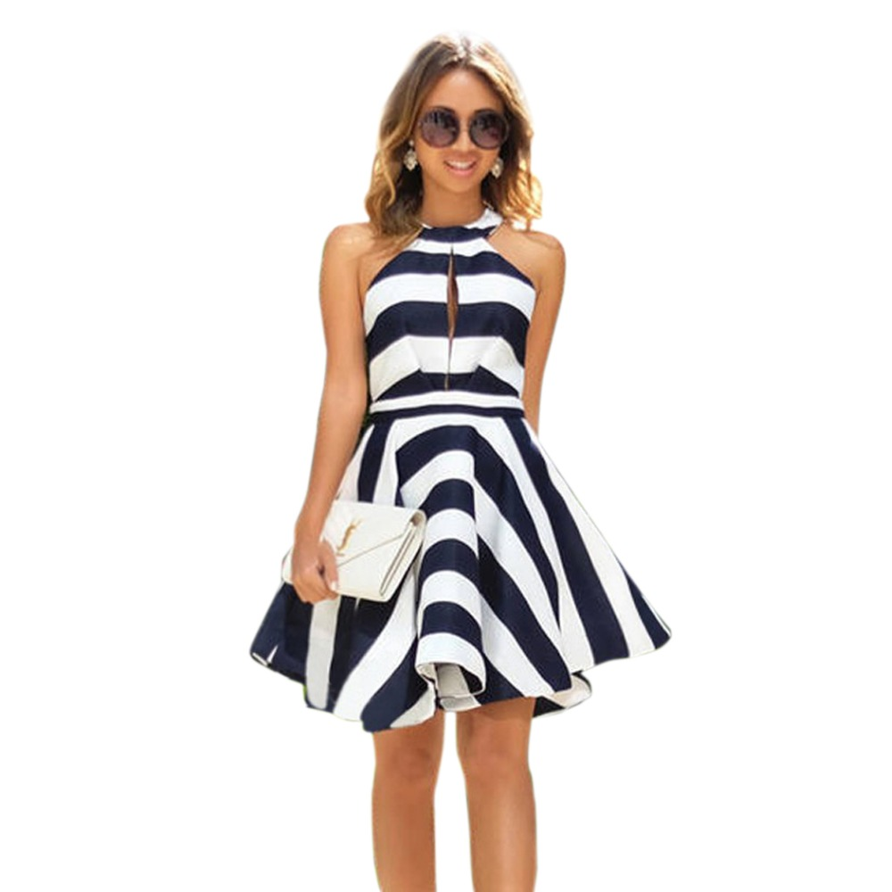 Summer dress mujeres 2017 vintage pinup striped dress off hombro patchwork oscil