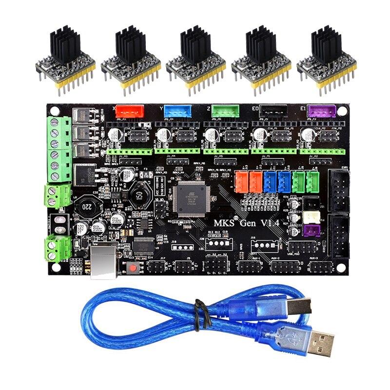 3D-принтеры Запчасти MKS Gen V1.4 Управление доска Мега 2560 R3 материнская плата принтера RepRap Ramps1.4 + TMC2100/TMC2130/TMC2208/DRV8825 драйвер