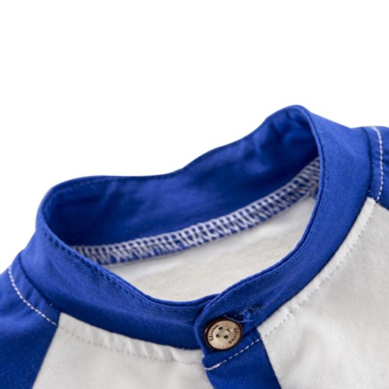 NewMandarin Colarinho Amarelo/Azul Bebê Verão Meninos Listrada de Manga Curta Carta De Impressão Tops Blusa T shirt + Shorts conjuntos de Roupas casuais - 4