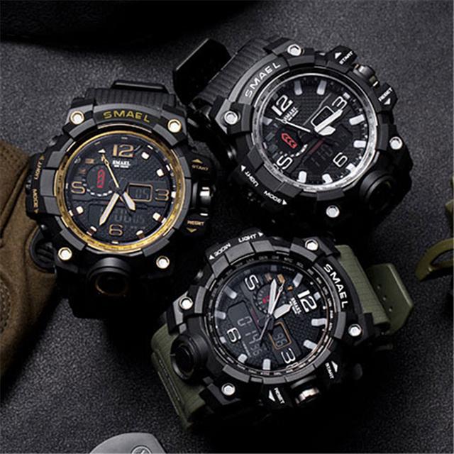 SMAEL Top Brand Men Analog Quartz Watch Men Sports Watches Mens Shock Military Clock Waterproof LED Digital WristWatch Masculino
