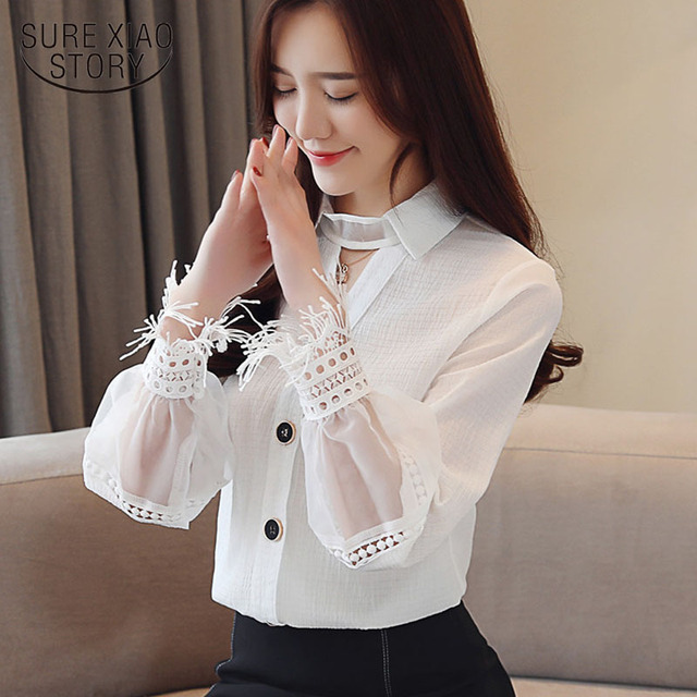 Spring 2019 New Style Long Sleeve women blouses Chiffon shirt lace V-neck shirt woman white blouse causal ladies tops 1891 50 1