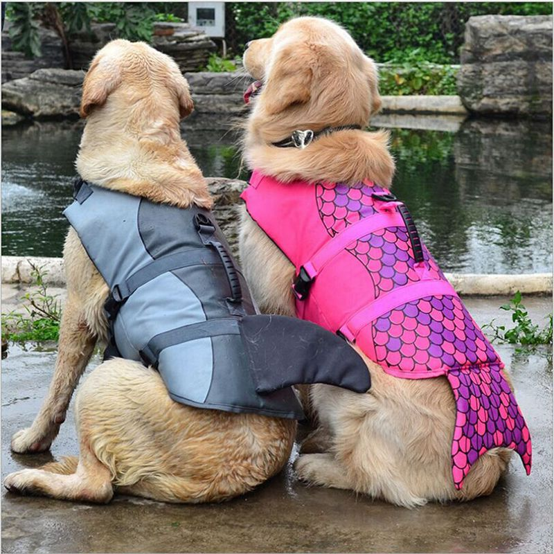 Dog Clothing & Shoes Pet Dog Life Jacket Safety Clothes Life Vest Collar Harness Saver Pet Dog Swimming Preserver Summer Swimwear Mermaid Shark Harmonious Colors
