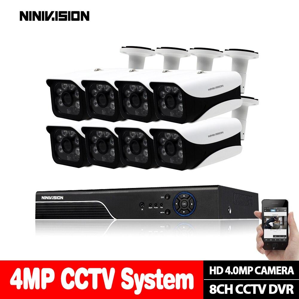 4MP AHD 8CH CCTV Système 1080 p HDMI DVR 4.0MP 2560*1440 En Plein Air Intempéries CCTV Caméra de Sécurité À Domicile Système kit de Surveillance