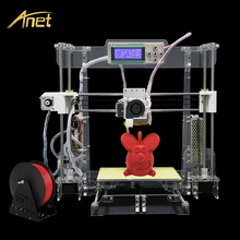 Black and transparent color Anet A8 3D Printer Kit  Precision Reprap Prusa Industrial i3 DIY With Filament &Card& LCD&Video Free