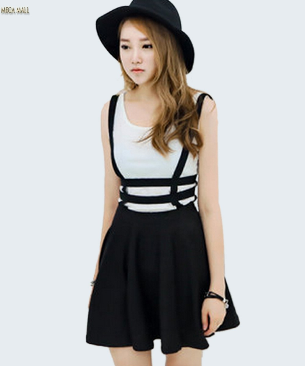 Faldas Autumn Overall Skater Skirt With Suspenders Skirts Womens ... 95a766830