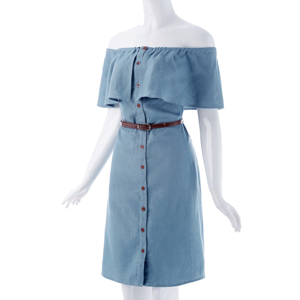 db8c10569e6 Kate Kasin Retro 1940s Style Off Shoulder Button Up Denim Shirt Dress  Vintage Butterfly Ruffles Jeans Dress Vestido Feminino -in Dresses from  Women s ...