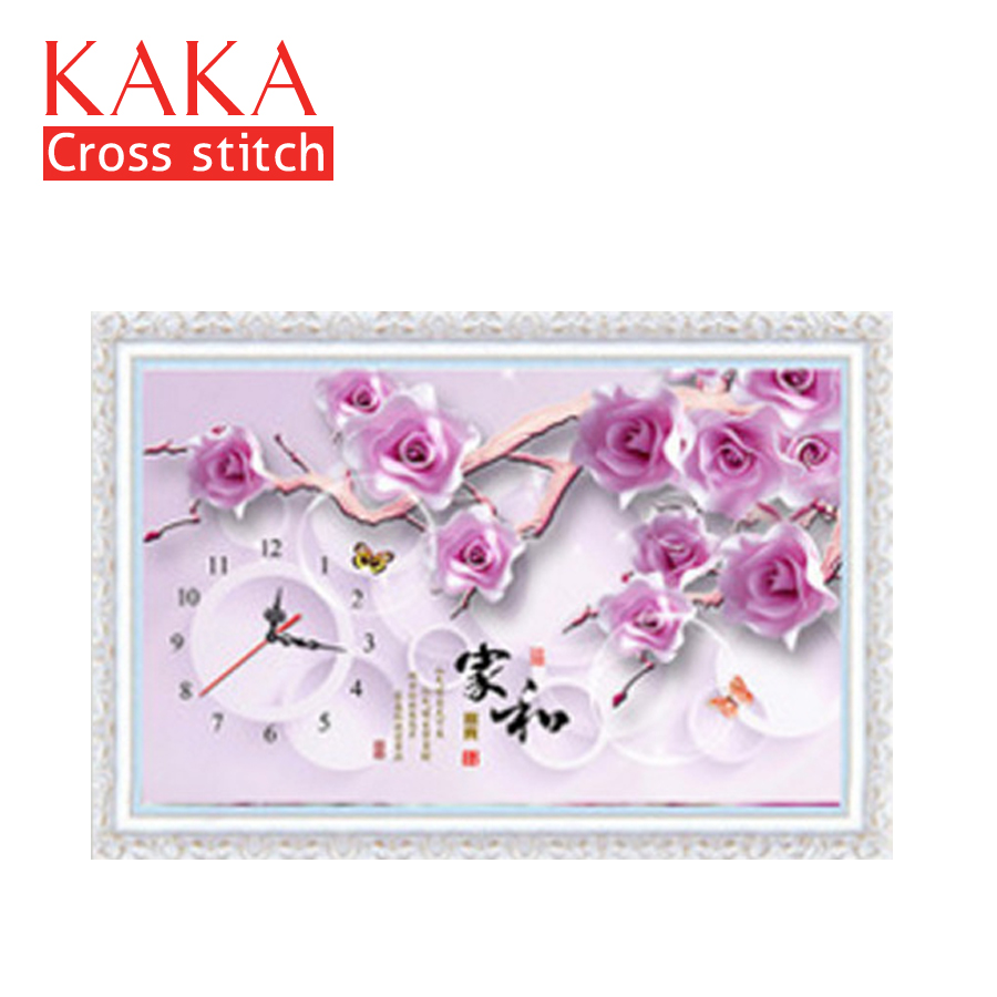 Smart Kaka Cross Stitch Kits,5d Clock Purple Flowers,embroidery Needlework Sets With Printed Pattern,11ct Canvas,home Decor Painting Outstanding Features Package
