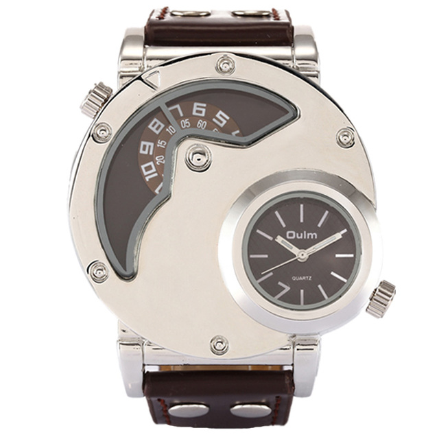 e4985485761 Multiple Time Zone Watch Oulm 9591 Luxury Brand Japan Quartz Movement  Military Leather Strap Men Sports