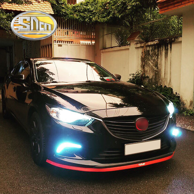 SNCN With Yellow Turning Function Matte Black Cover 12V Car DRL LED Daytime Running Light Daylight For Mazda 6 2013 2014 2015