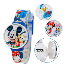 100% Genuine Disney Mickey Mouse Carton Watch for kids Fashion Digital Silicon Wristwatch Relogio Feminino Clock for Child