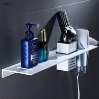 MEIFUJU NEW Aluminum Bathroom Shelf Black White Bathroom Shelves Rack Hair Dryer Holder Single Tier Wall Mounted Corner Shelf
