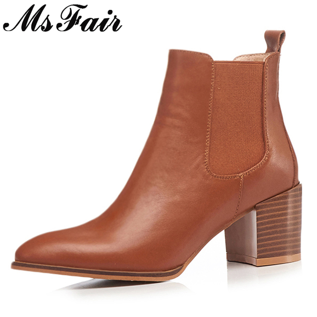 MSFAIR Pointed Toe Square heel Women Boots Fashion Mid Heel Black Brown  Ankle Boots Women Shoes Short Plush Boots Shoes Woman d11d6a41e4