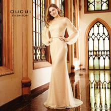 2019 Luxry Pearls Long Sleeve Evening Dress Dubai Fashion Sexy Mermaid Elegant Prom Dresses Vintage Vestido Real Photo OL103119