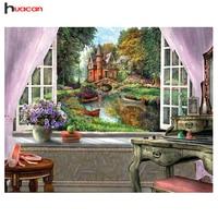 HUACAN Diy 5D Diamond Mosaic Landscape Garden Lodge Picture Rhinestones Full Square Crystals Diamond Embroidery Beadwork