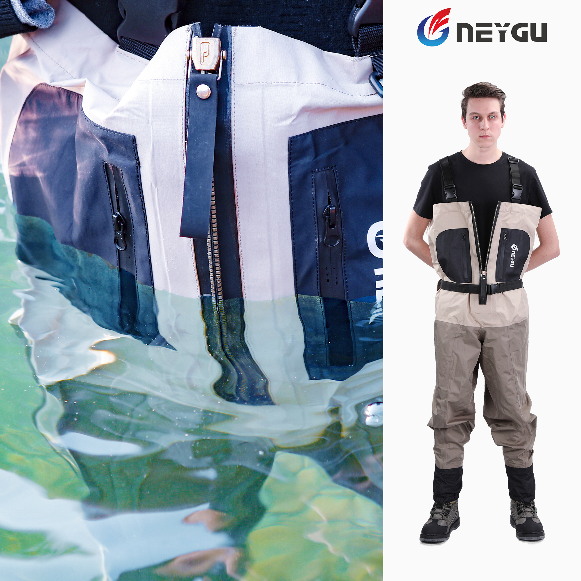 NEYGU Hot Style Waterproof Ventilate Adult Waders Attached Stocking Foot With Zipper For Fishing Hunting