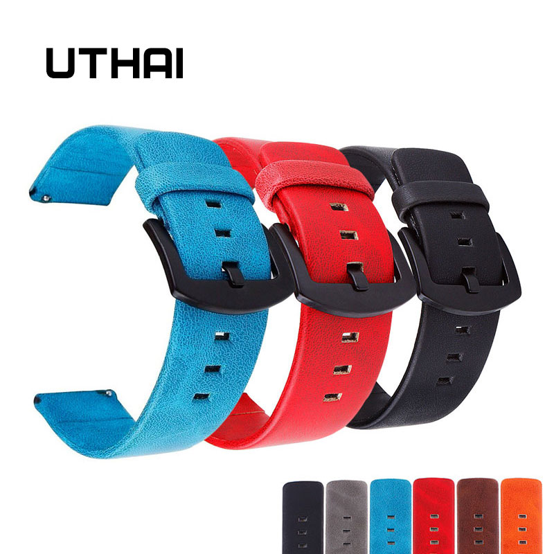 UTHAI P16 18/20/22/24mm Watch Strap Retro Leather Watch Strap 22mm Watch Band 18-24MM Watchbands