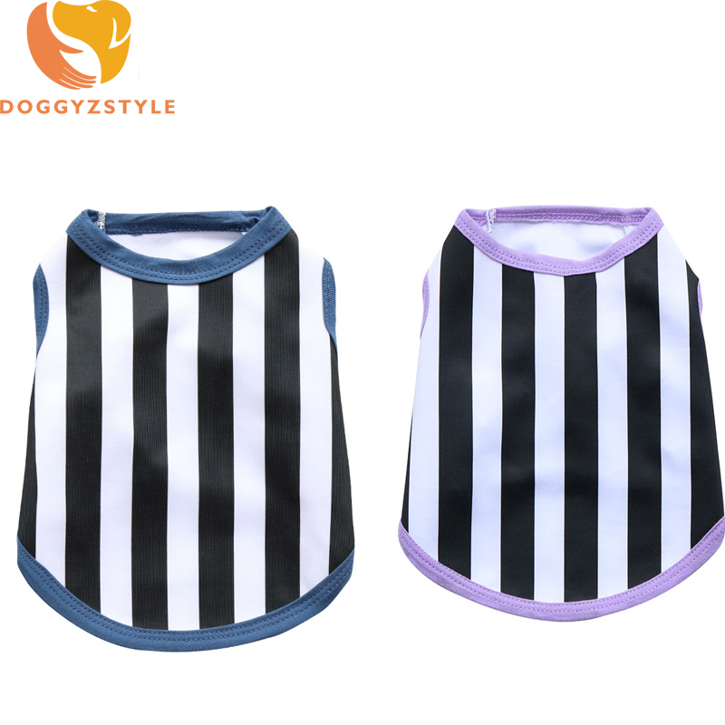 Striped Polyester Pet Sports Clothes Dog Vest Blue Purple T Shirt Puppy Bulldog Sweatershirt Small Dogs Apparels XS S M L