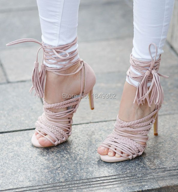 65b0d40a23fe Young ladies streetstyle pink black tie up thin strappy sandals stiletto  heel fringe shoes braided cross strappy dress pumps