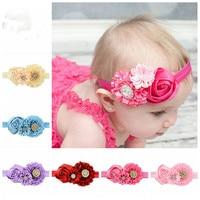 SMITH Newborn Baby Headband Rhinestones Flower Elastic Headdress Infant Photography Head Wear Hair Accessories 74