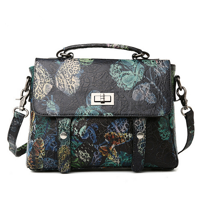 Women Vintage Genuine Leather Bags Printing Flowers Handbags Ladies National Style Famous Women Bags Tote Brand Shoulde Bag pmsix chinese style brand women handbags genuine leather bag printing cowhide women totes national vintage women messenger bags