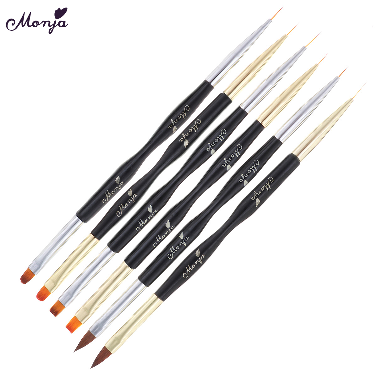 Monja Dual End Nail Acrylic Liquid Powder Carving UV Gel Extension Builder Stripes Lines Liner Painting Brush Manicure Tools(China)