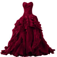 Red wine Quinceanera Dress for 15 year girl Ball Gown Sweetheart Ruffled Chapel Train Quinceanera Gown custom made