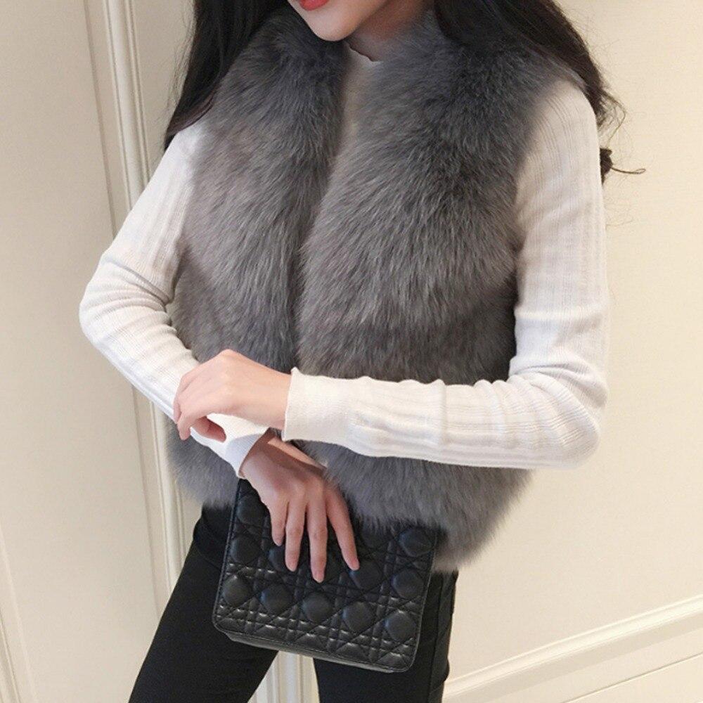 Winter Thick Warm Women's Waistcoat Faux Fox Fur Vest Sleeveless Jackets Fake Fur Coat Plus Size Female Gilet Vests 2018