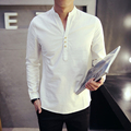 3 buttons Linen tops Men Casual Shirts Long Sleeve V Neck Cotton Fashion Men Top Solid Thin Clothes Plus Size M-4XL MQ491