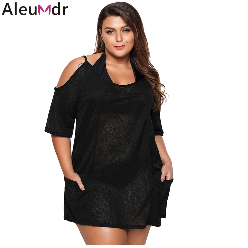629b6745ee Detail Feedback Questions about Aleumdr Summer Swimsuits Bikinis Large  Women Black Open Shoulder Plus Size Tunic Beach Dress Cover up Tunic Shirts  Tops ...