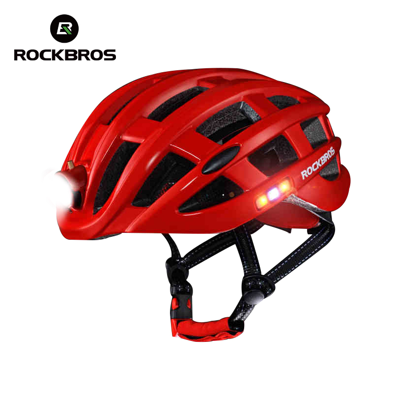 все цены на ROCKBROS Cycling Helmet Bike Ultralight Helmet With Light Integrally-molded Mountain Road Bicycle Helmet Safe Men Women 49-62cm онлайн