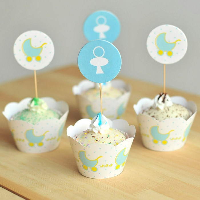 24pcs/set Blue Baby Shower Cupcake Wrappers U0026amp; Topper Picks,kids  Birthday Party