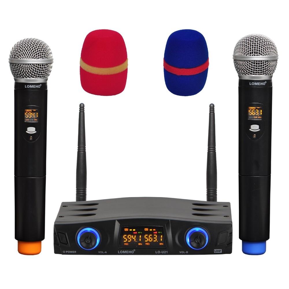 LOMEHO LO U21 2 Way 2x16 Adjustable Frequency 2 Handheld LCD Screen Party Church School Dj