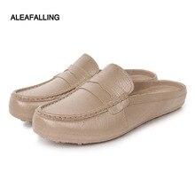 Aleafalling Pvc waterproof unisex rain boots waterproof flat with shoes men rain water rubber ankle boots buckle botas w055