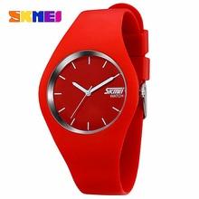 Mujeres del reloj skmei marca moda hombres reloj de cuarzo ocasional relojes montre femme reloj mujer de silicona impermeable del deporte relojes de pulsera