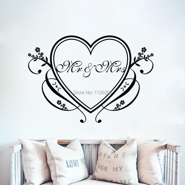 Mr And Mrs With Heart Love Vinyl Quote Wall Stickers Art Home Decor