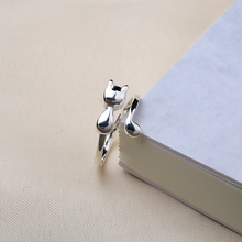 Silver 925 jewelry Glossy cat opening rings ring Indian in sterling silver Costume gold Luxury