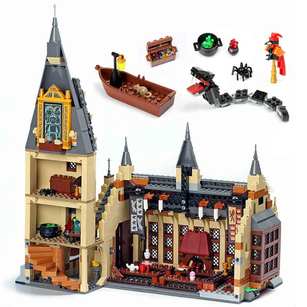 Spain 16052 983pcs Compatible Legoing 75954 Hogwarts Great Hall Model Buiding Blocks Bricks Kids Ship Within