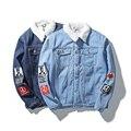 Реальные Фото Европейских и Американских людей любишь Большой Размер Зимой хлопок Пальто Мужчины Твердые джинсовая куртка Синий М-XXXXL 4XL 5XL #950