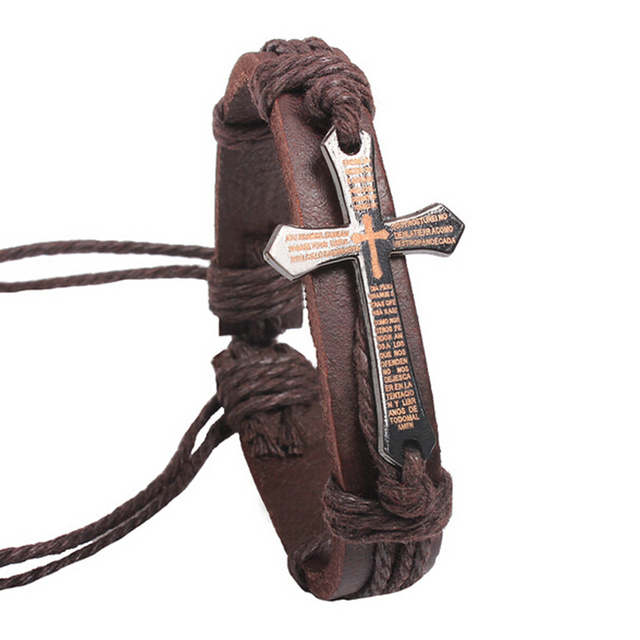 Men's Adjustable Cross Decorated Bracelets