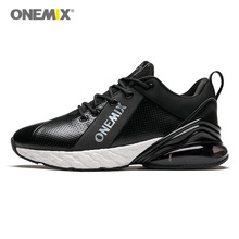 Onemix running shoes men sneakers 270 couple fitness  black leather mesh breathable sports outdoor jogging training