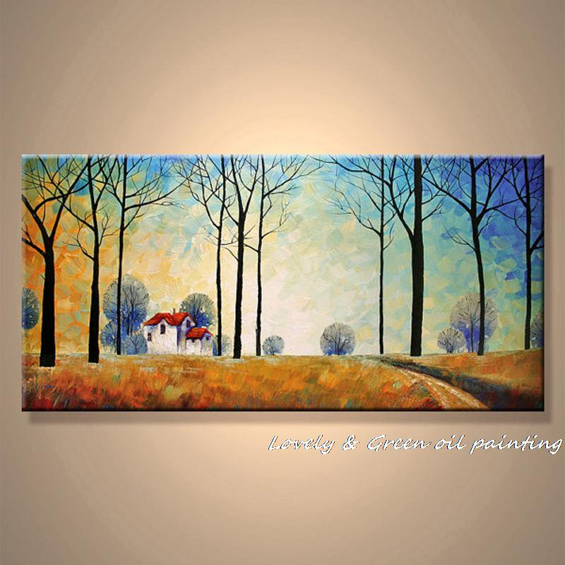 Frameless pictures hand painted oil painting village - Landscape paintings for living room ...