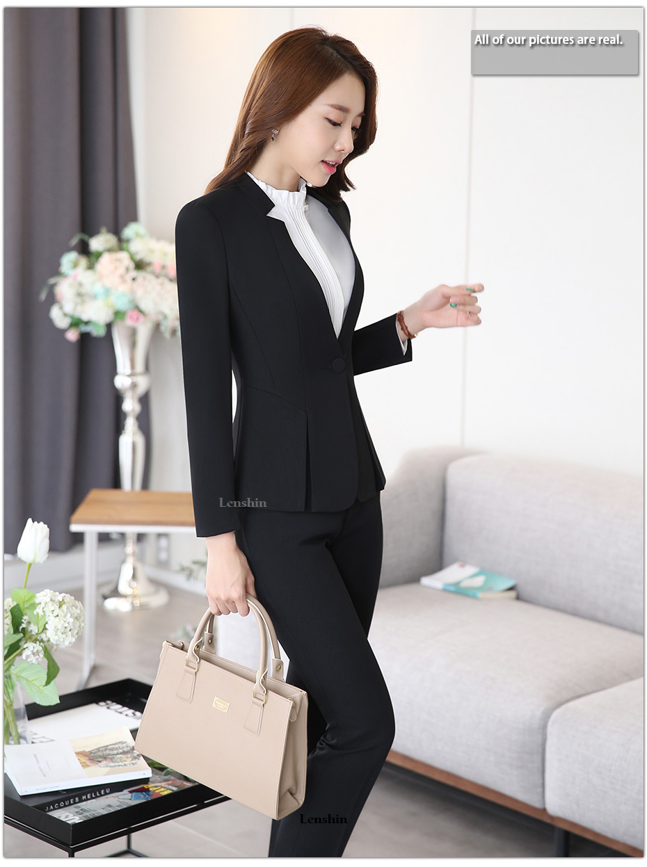 2 piece Gray Pant Suits Formal Ladies Office OL Uniform Designs Elegant Business Work Wear Jacket with Trousers Sets 12